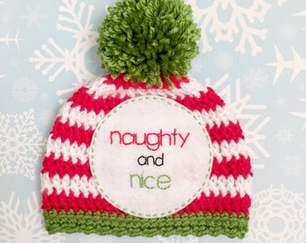 """Christmas newborn """"NAUGHTY and NICE"""" hat, newborn photo prop, funny baby prop, first Christmas"""