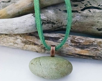 Mint Natural Stone Pendant, Beach Lover Gift, Mint Stone Necklace, Egg Stone, PNW Gift, Beach Comber, Ocean Lover Jewelry, Sea Lover Gift