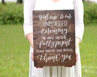 Wooden Unplugged Ceremony Sign, Wooden Wedding Signs, Rustic Wedding Sign, Unplugged Wedding, Wood Wedding Sign NP1