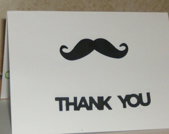 Moustache Cards, Moustache 12 Thank You Baby Cards, Baby Shower, Baby Cards, Baby Thank You Card, Baby Boy Cards.