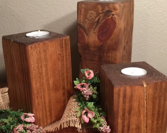 Rustic wooden candle holder centerpiece Table decor Country home decor New home gifts Wood candle holders tea lights set of 3