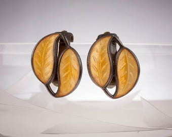 David-Andersen of Norway, Designer Willy Winneass, Sterling, Golden Yellow, Double Leaf Clip-on Earrings, 1950s/60s