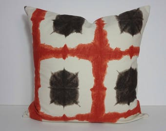 Orange, Brown Decorative Pillow Cover, Burnt Orange Pillow Cushion, Geometric 20 x 20, 22 x 22