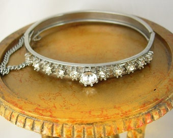 Rhinestone Hinged Cuff Bracelet Safety Chain Holidays Birthday Anniversary