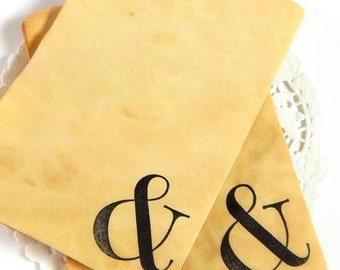 Coffee Stained Tags. Ampersand. Junk Journal Supply. Journal Paper. Paper Ephemera. Vintage Paper. Planner Accessories. Vintage Journal.