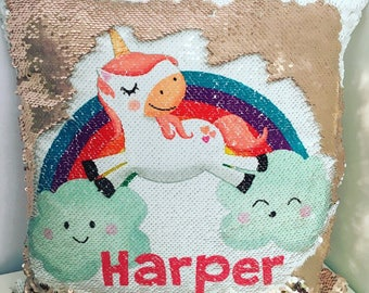 Mermaid sequin reversible unicorn cushion personalised with name, glitter unicorn cushion, colour changing cushion, reversible cushion
