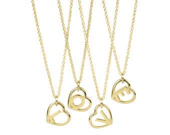 9k Solid Gold Love Letter Pendant- Initial Heart Necklace in 9k Yellow Gold
