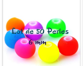 Set of 50 6 mm acrylic beads frosted colors mixed Flashy effect matte