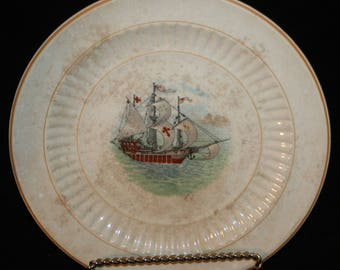 Vtg KT & K Knowles Taylor and Knowles Pottery Co China Plate Ship Nautical Boat Schooner
