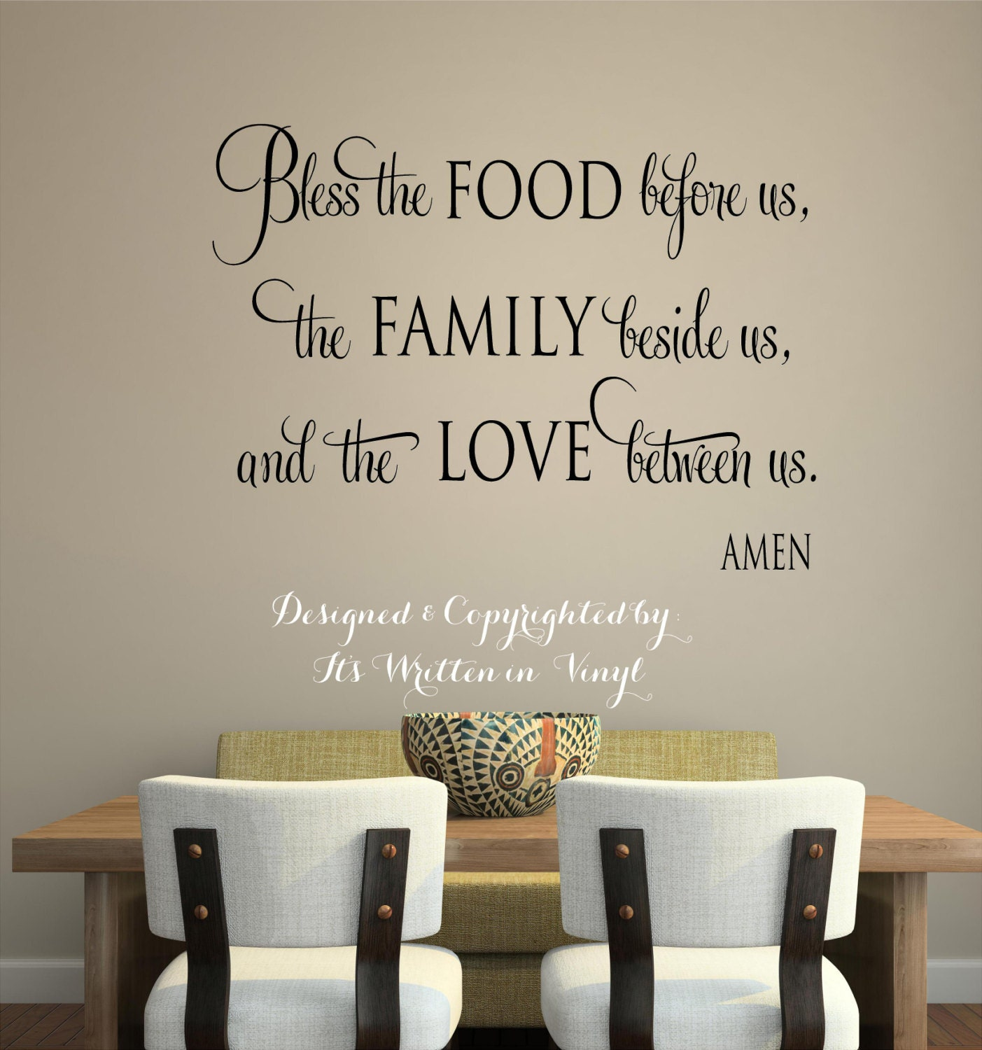 Bless the food before us faith Vinyl Lettering wall words