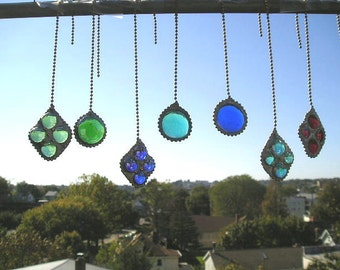 Stained Glass Fan Pull or Light Pull Home & Living Home Decor Lighting Stained Glass Single Pull Glass Pull Chain Handcrafted Made in USA