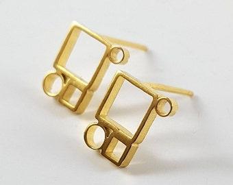 Gold Stud Earrings, Everyday Small 14K Earrings, Minimalist Geometric Jewelry, Comfortable Light Post Earrings,  Gift For Her