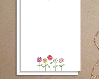 Flat Note Cards -Zinnia Note Cards - Floral Thank You Cards- Personalized Floral Stationery - Floral Note Cards