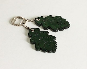 Leather keychain. Oak Leaf