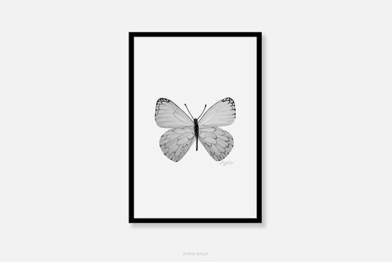Butterfly Wall Art Black And White Pencil Drawing Fine