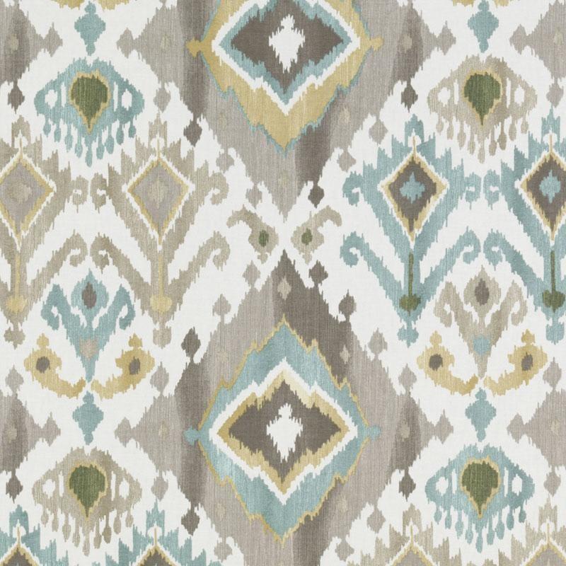Aqua Blue Brown Ikat Upholstery Fabric Custom Blue Gold Ikat