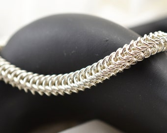 Sterling Silver Bracelet - Chainmaille Box Weave Bracelet - Unisex Bracelet - Silver - Birthday Gift - Anniversary Gift