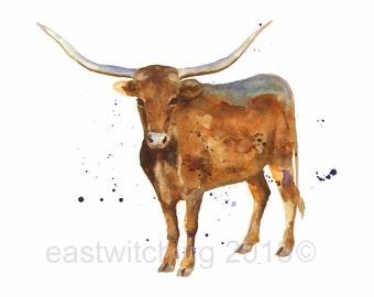 LONGHORN STEER Print, steer art, cows, western art, cowboy art, southwestern, longhorn, steer,