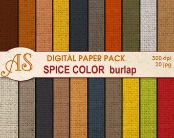 Digital Spice Color Burlap Paper Pack, 20 printable Digital Scrapbooking papers, Fabric Food Digital Collage, Instant Download, set 114