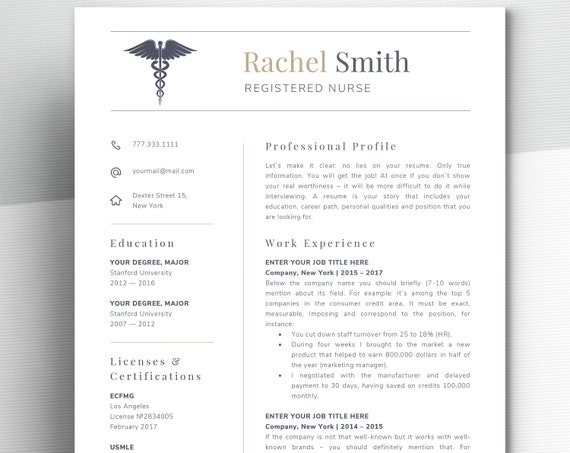 Nursing Resume Template For Word Nurse Cv Template Rn