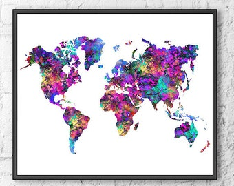 Watercolor map etsy world map print watercolor map colorful map poster print office decor office gumiabroncs Gallery