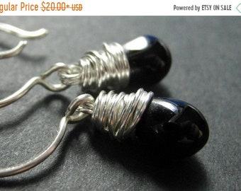 SUMMER SALE Black Earrings. Wire Wrapped Black Teardrop Earrings in Silver. Handmade Jewelry.