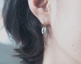 Silver Coffee Bean Earring