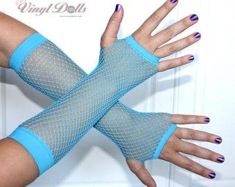 Blue Fingerless Fishnet Gloves