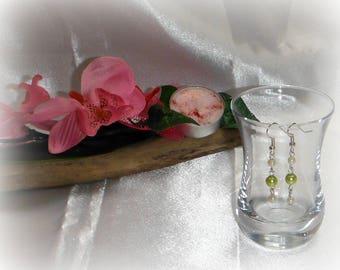 CLOTHILDE - Bridal earrings ivory lime