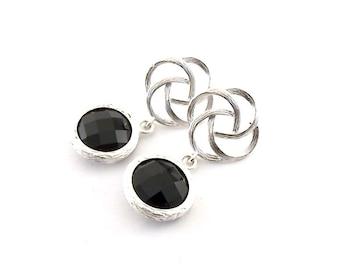 Handmade Earrings, BlackEarrings, Silver Swirl Earrings, Post Earrings, Silver Earrings, Anti Tarnish Earrings, Elegant Earrings, E038