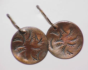 Handmade Copper Earrings, Hand Forged Copper Earrings, Copper Dangle Earrings, Textured Copper Earrings, Hammered Copper Earrings,