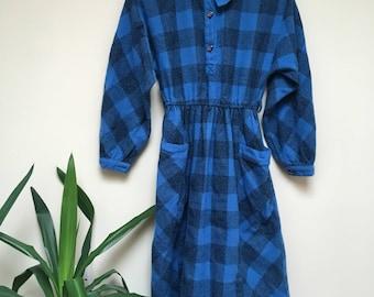 50s Tartan Dress Vintage Blue Tartan Woman Size Medium Uk 8/10