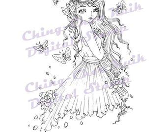 Vlinders - Instant Download digitale stempel / Peony bloem Flora vlinder kleurplaat Fairy meisje door Ching-Chou Kuik