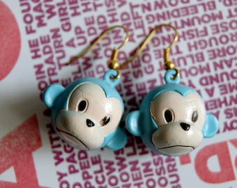 Big Monkey Earrings Handpainted Kawaii