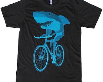 Shark on a Bicycle - Mens T Shirt, Unisex Tee, Cotton Tee, Handmade graphic tee, Bicycle shirt, Bike Tee, sizes xs-xxl