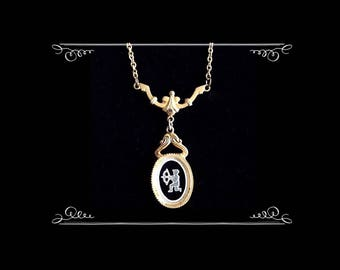Intaglio Cupid Cameo Pendant on Stylized Yoke Chain