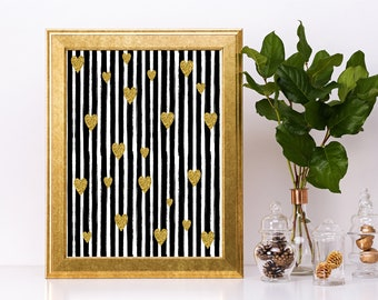 Monochrome Golden Love - Wall Art 8 by 10 inches