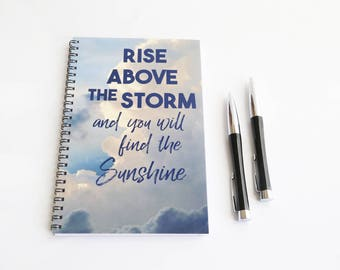 Motivational Quote Notebook, Storm Journal, Blank Paper Notebook, Spiral bound journal, Quote Book, Blue Notebook, Inspirational Gift