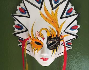"Mardi Gras Mask, hand painted Ceramic, Vintage, carnival, 7"""