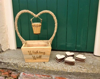 Wooden wedding wishing well guestbook alternative, personalised