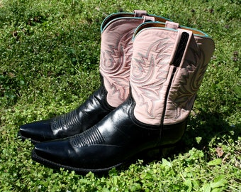Lucchese Classics, Handmade, Pink, Black, Leather, Cowboy, Boots, Turquoise, Cowgirl, Lucchese Cowboy Boots, Lucchese, Ladies, Women's Boots