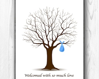 Baby Shower Guest Book Fingerprint Guestbook, Baby Boy Thumbprint Tree, bundle, 8x10 and 11x14 - EDITABLE Text - INSTANT DOWNLOAD Jpeg & Pdf