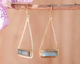 Labradorite Gold Earrings * Aqua Chalcedony * Blue Chalcedony * White Druzy * Turquoise Dangle Earrrings * Boho Earrings * Modern * BJE001D