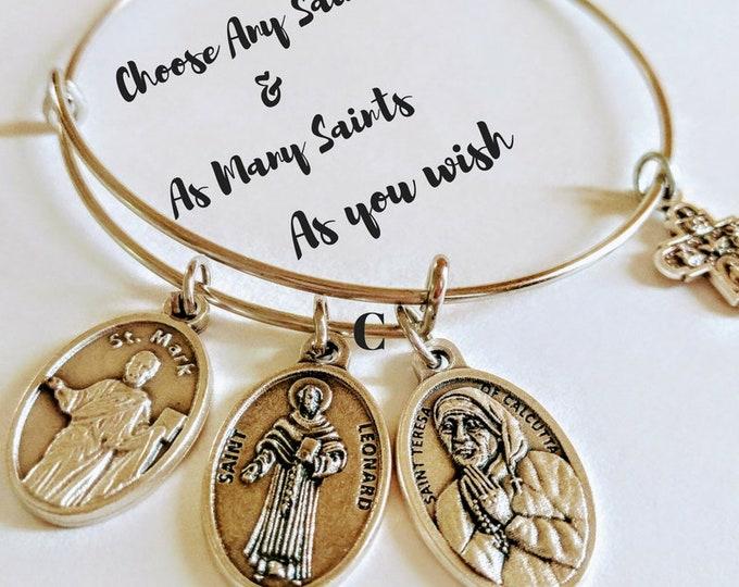 Featured listing image: Custom Saint Bangle| Saint Medal| Custom Catholic Bracelet| Confirmation Gift| Catholic Gift| Patron Saint Gift| Personalized Spiritual Gift