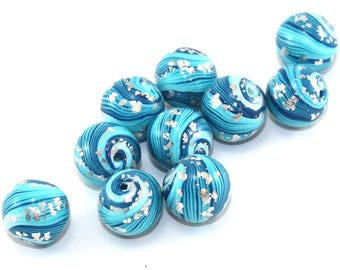 Round stripes beads for jewelry making, Artisan beads, Handmade beads, 10 polymer clay ball beads in turquoise, blue and silver unique beads