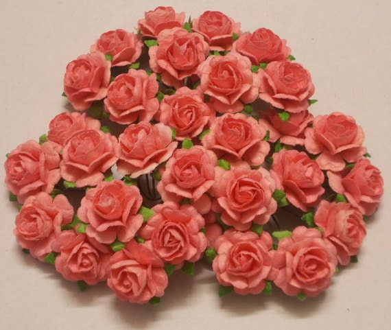 30 paper flowers size 075 mulberry paper craft flower mini 30 paper flowers size 075 mulberry paper craft flower mini roses wedding events paper flower craft wedding soft coral paper roses from mightylinksfo