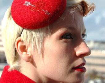 Cocktail hat Crystal Cupid red tweed valentines pillbox hat