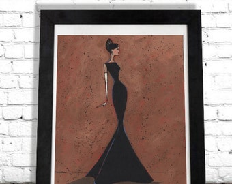 Fashion Illustration Art Print, Hollywood Glam, Woman Art Print, Elegant Art, Home Decor, Wall Hanging, Unique Gift Idea, Chanel SHANO