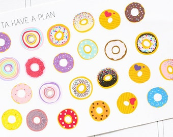 Planner Stickers Donut for Erin Condren, Happy Planner, Filofax, Scrapbooking