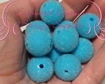 20mm  Blue Sugar Beads 10pcs, Coated Bead, Chunky Bead, Gumball Bead, Bubblegum Bead, Chunky Jewelry Beads, Acrylic Beads, Textured Beads